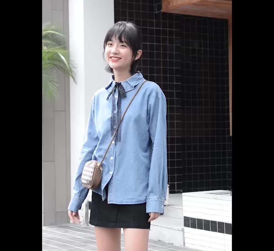 實拍新款休閑韓版長袖襯衫+半身短裙兩件套時尚套裝女