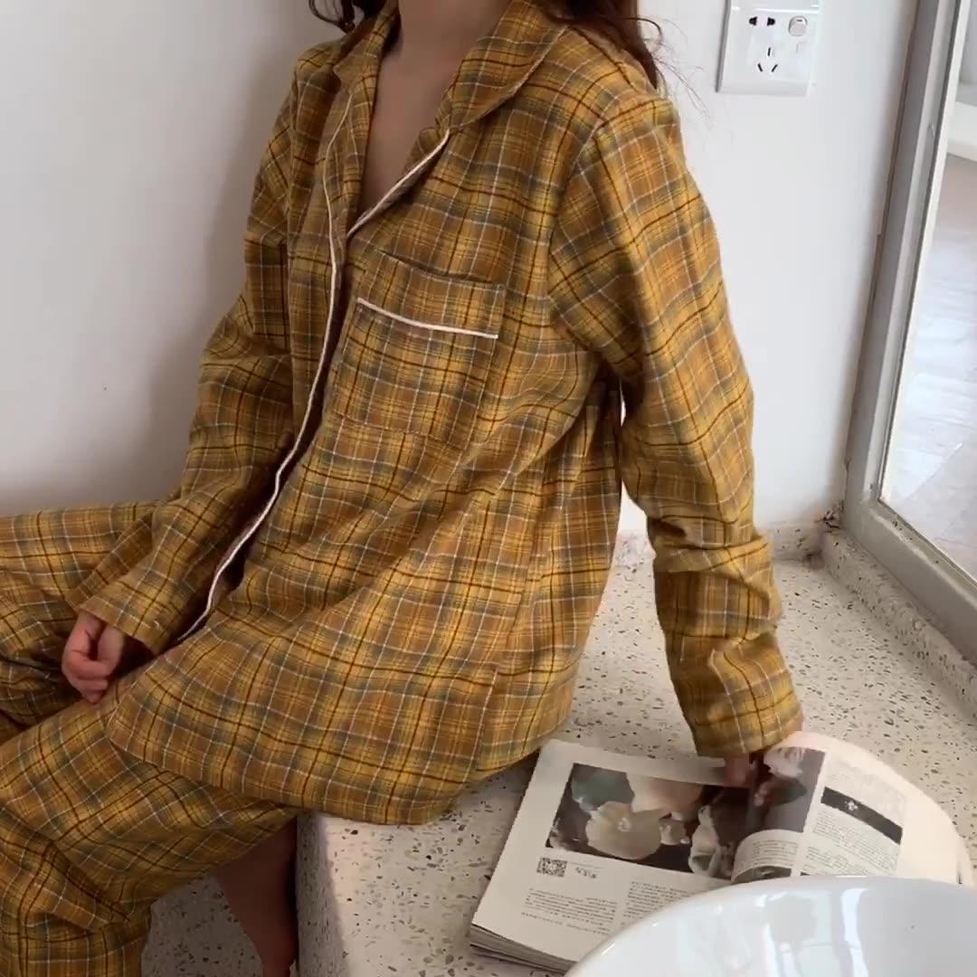 實拍#兩色#新品 復古日系格紋寬松學院睡衣家居服套裝