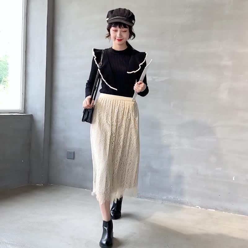 實拍2019兩面可穿秋冬金絲絨半身裙女蕾絲中長款長裙網紗A字裙子