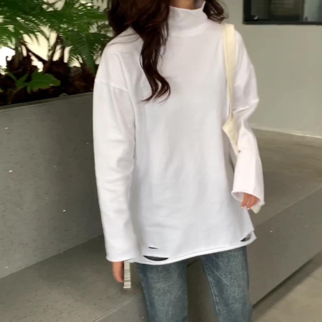 實拍~秋冬高領白色長袖破洞薄絨磨毛t恤打底衫女寬松內搭中長款