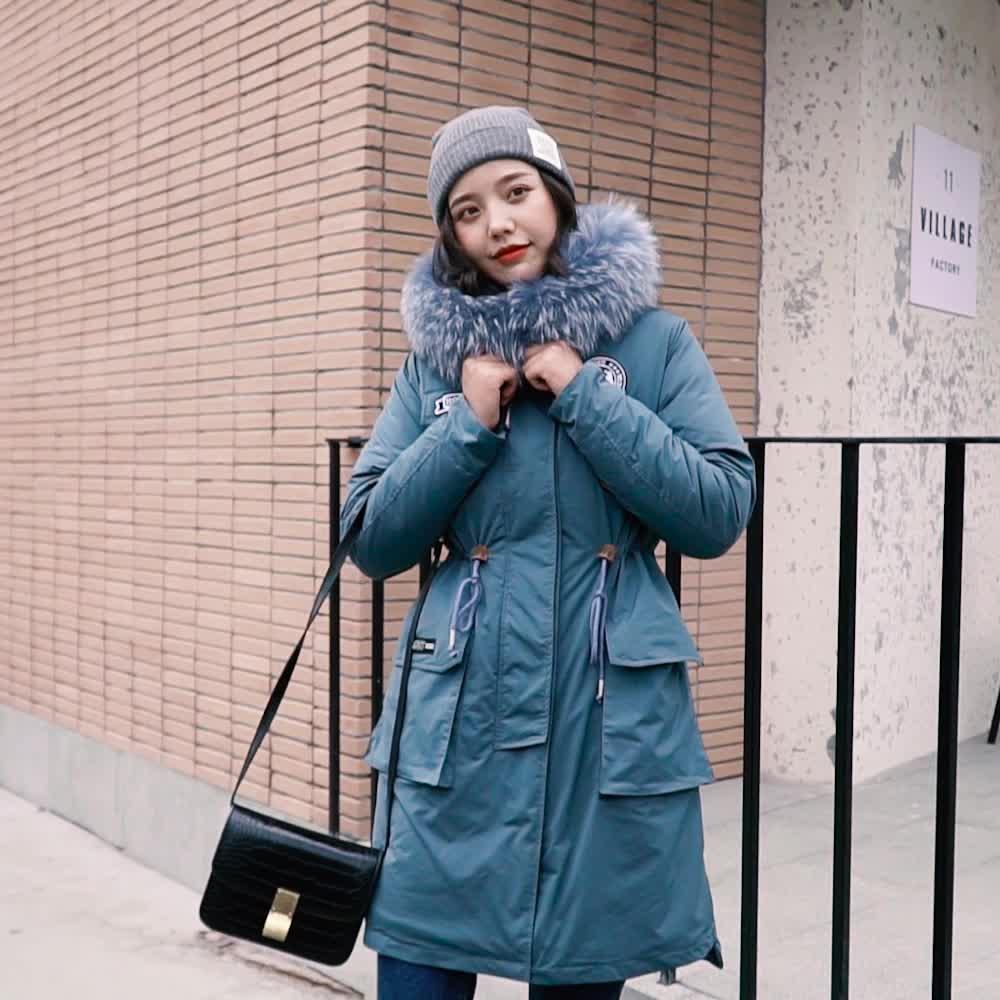 實拍19秋冬新款羽絨服女韓版長款寬松bf收腰顯瘦派克皮草風衣外套