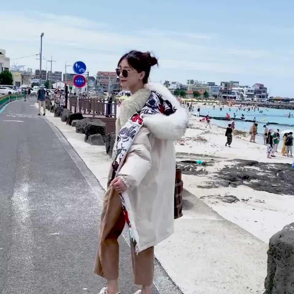 實拍2019冬季羽絨服時尚韓版大碼加厚印花兩面穿羽絨服棉衣外套女