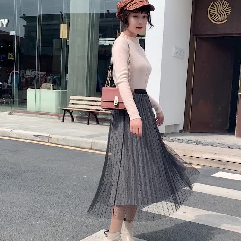 實拍2019秋季新款氣質網紗拼接絲絨A字裙正反兩穿中長半身裙女