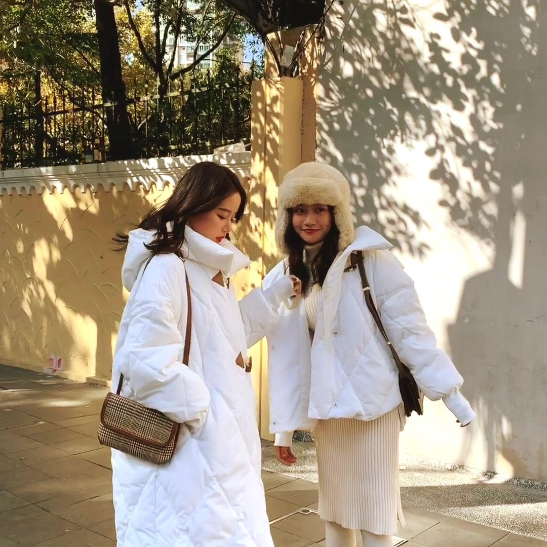 實拍林珊珊 牛角扣羽絨服女中長款時尚ins加厚外套秋冬小個子短款
