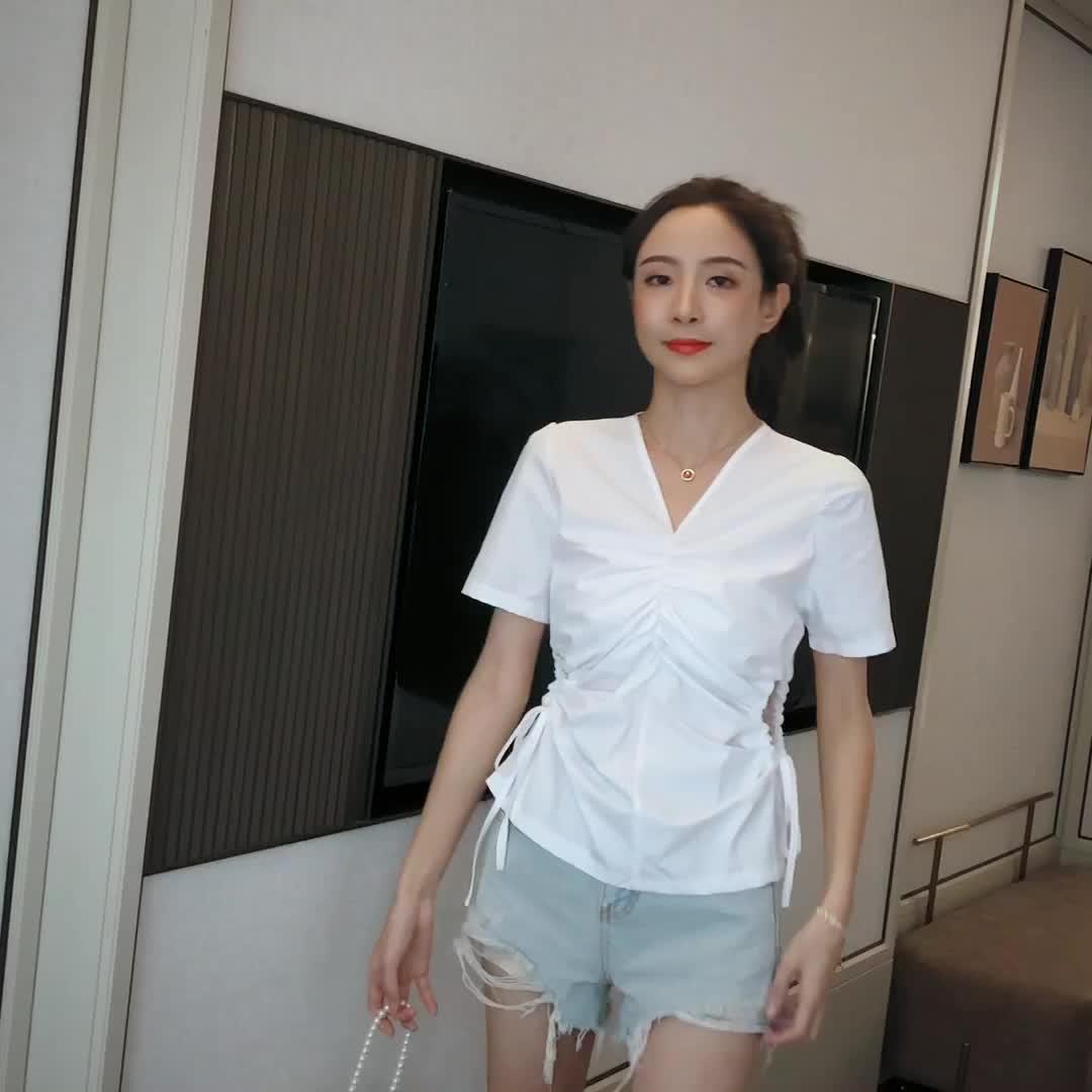 實拍 韓國東大門2020新款夏季凈色V領減齡襯衫上衣