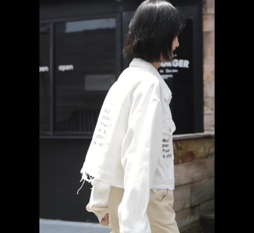 實拍2019牛仔外套女韓版chic寬松長袖水洗百搭短款夾克上衣