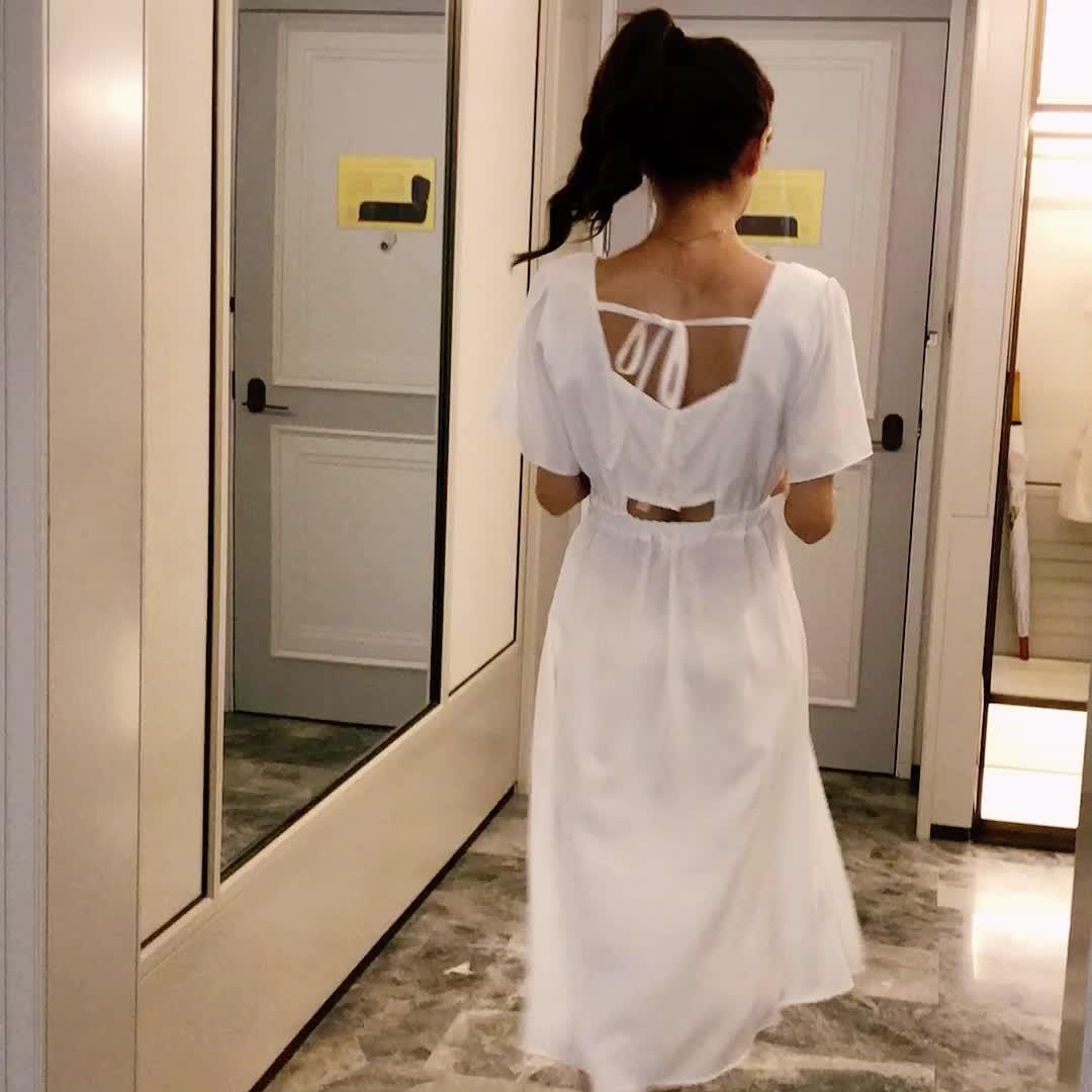 實拍 英倫風收腰顯瘦法式復古方領連衣裙2020年流行長裙子女夏