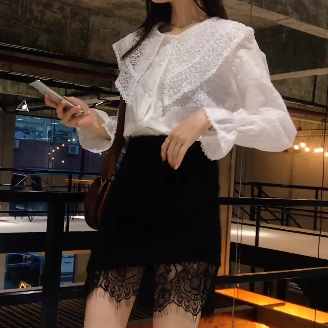 實拍大量備貨2019春裝新款韓版百搭大領子燈籠袖白襯衫女上衣春