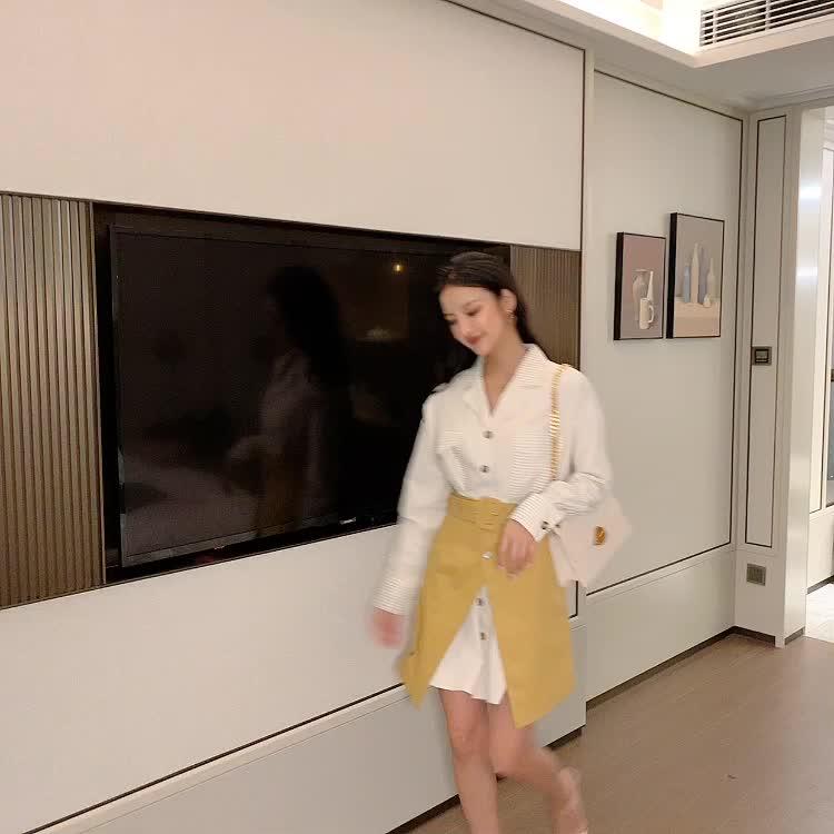 實拍現貨 半身裙女2019新款秋高腰洋氣顯瘦兩件套a字短裙襯衫套裝