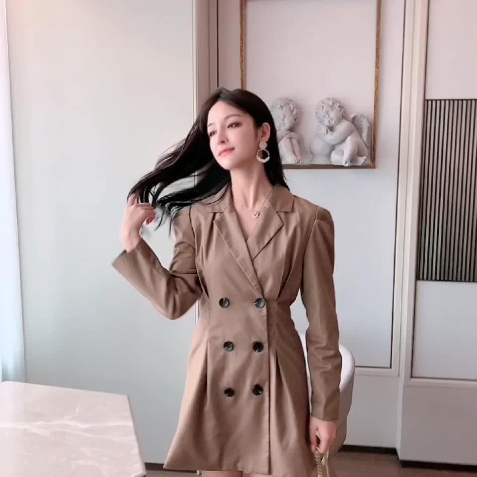 2019早秋智熏法式收腰顯瘦桔梗氣質超仙女甜美森系西裝連衣裙子夏
