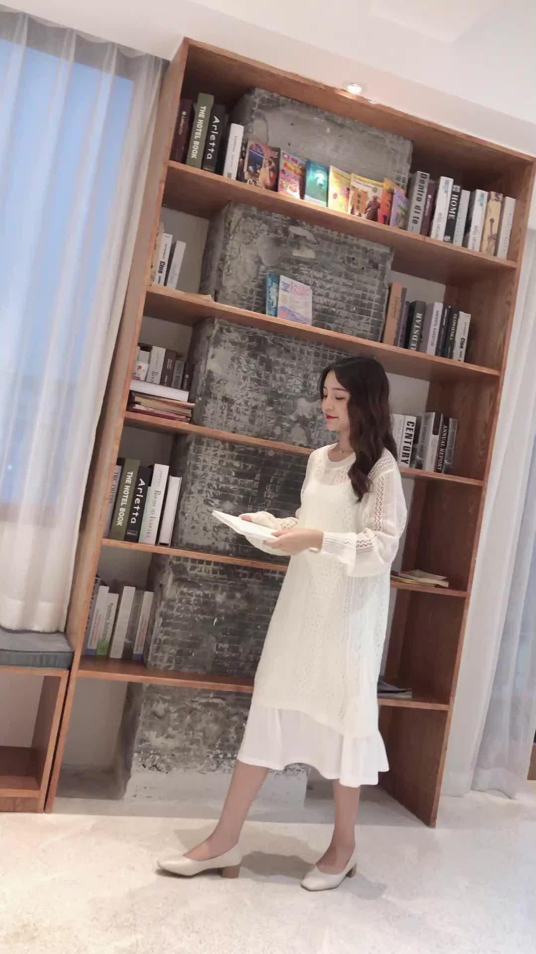實拍+現貨 秋季新款鏤空毛衣裙兩件套寬松慵懶風中長款針織裙套裝