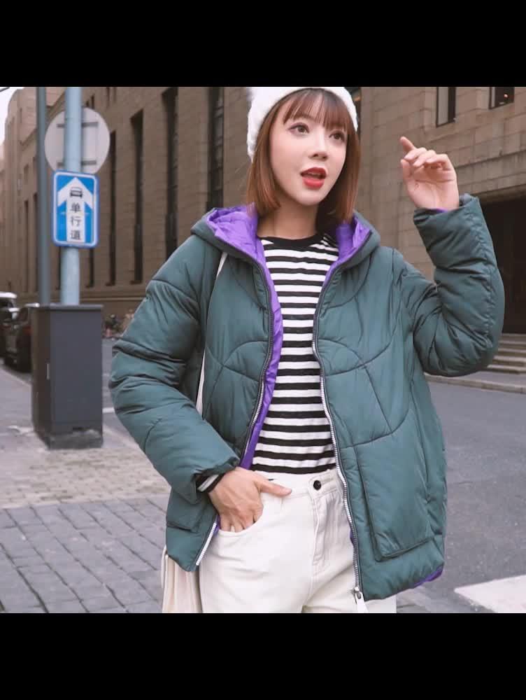 实拍冬季新款羽绒服女短款棉袄韩版立领学生宽松面包服bf棉衣外套