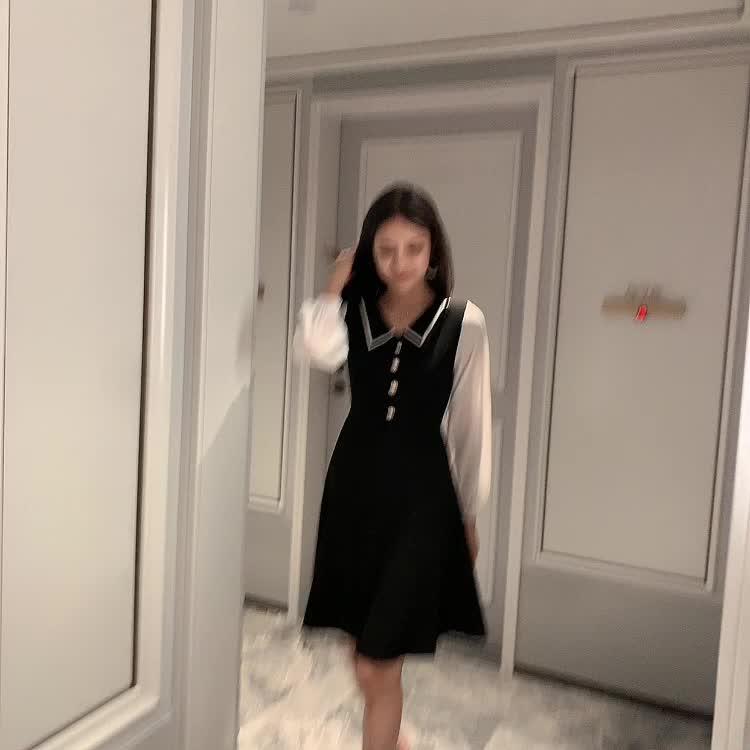 实拍现货2019秋装中长款韩版超仙洋气POLO领修身显瘦打底衫连衣裙