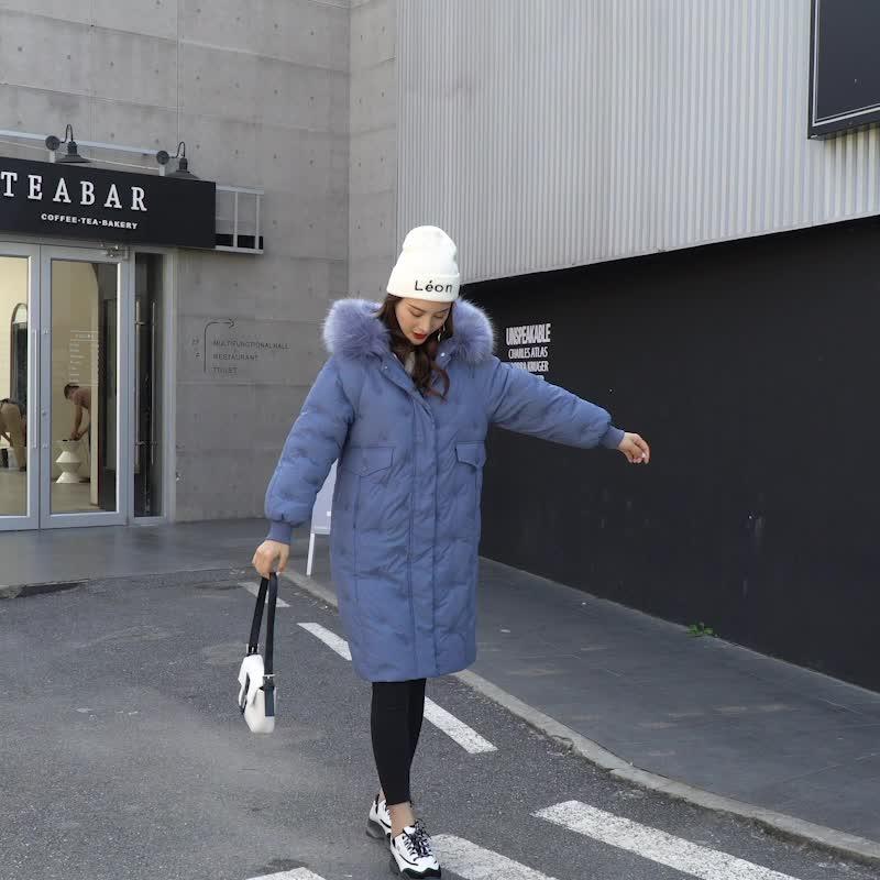 實拍2019韓國新款棉衣女長款棉襖加厚大毛領外套過膝羽絨服棉服