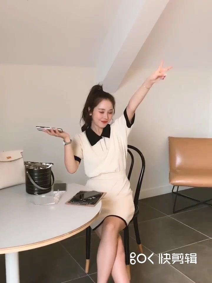 林珊珊 套裝女2019新款網紅洋氣時尚Polo衫半身裙兩件針織套裝