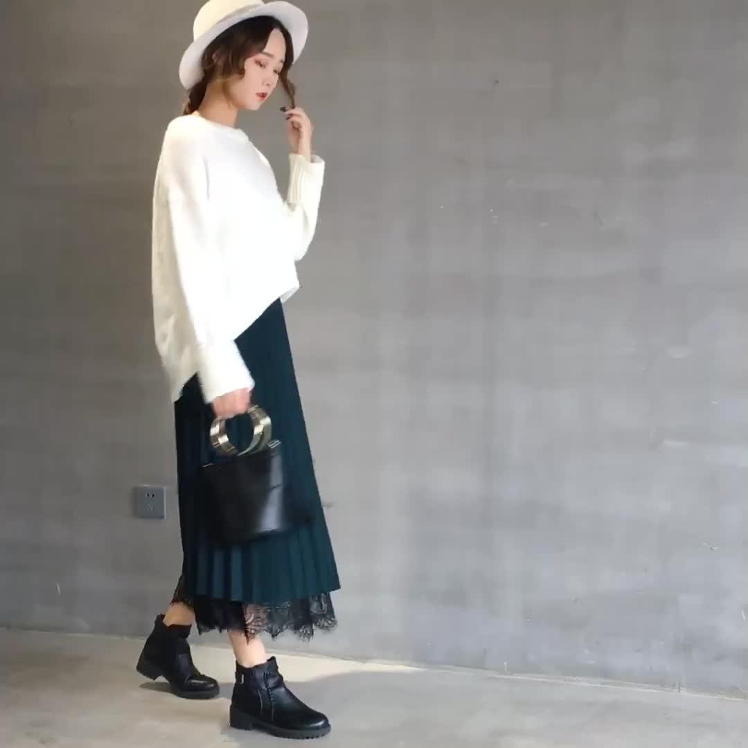 兩面穿半身裙秋冬季女裙子2019新款蕾絲百褶裙中長款a字長裙紗裙