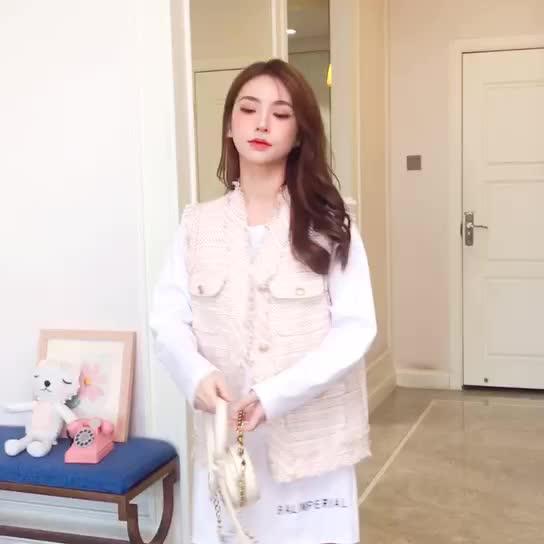 小香風套裝女早秋2019新款韓版洋氣顯瘦氣質馬甲打底衫T恤兩件套