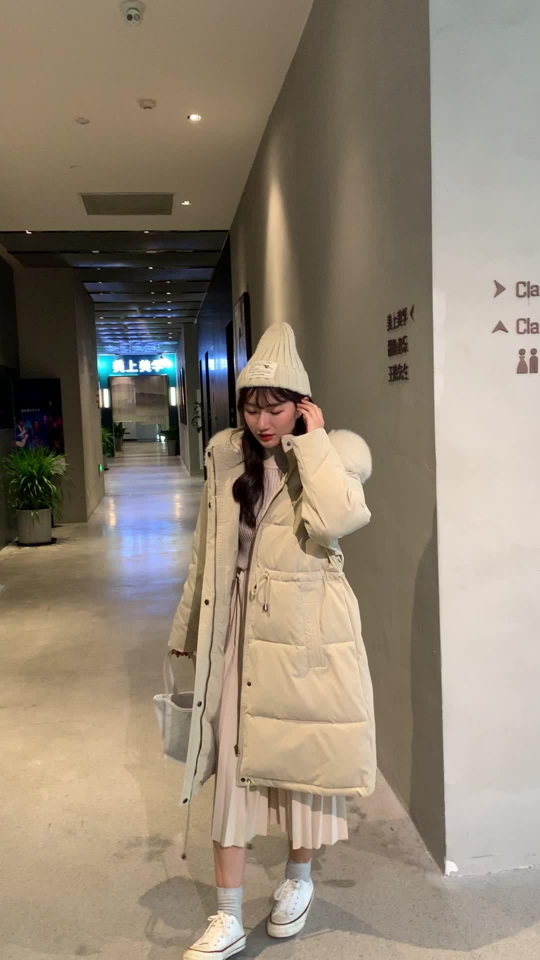 實拍2019冬季中長款閨蜜裝奶黃包毛領保暖加厚羽絨服女連帽外套潮