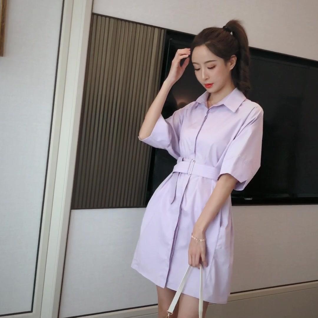 2020夏季新款時尚Polo襯衫連衣裙顯瘦收腰百搭長款帶腰帶連衣裙女