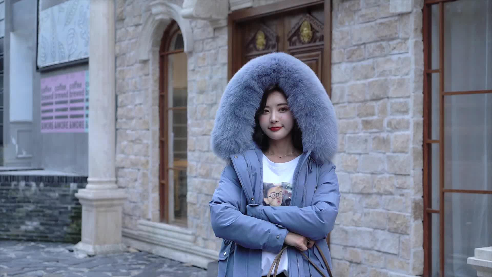 實拍派克服2019新款韓版女獺兔毛內膽皮草外套冬季中長款棉衣棉服