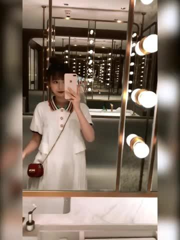 珍珍家新款 定制彩虹领百褶连衣裙女夏2019学院风拼接中长Polo裙