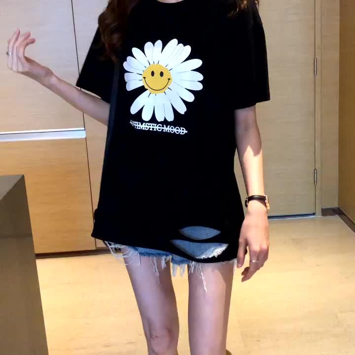 40支純棉奧代爾2020夏裝小V家原模特5106#實拍小雛菊破洞短袖T恤