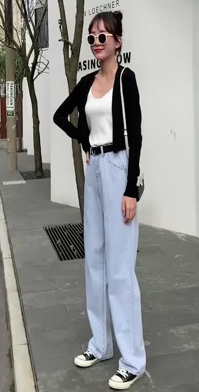 2020秋季新款女寬松闊腿直筒褲潮范時尚拖地褲高腰顯瘦牛仔長褲