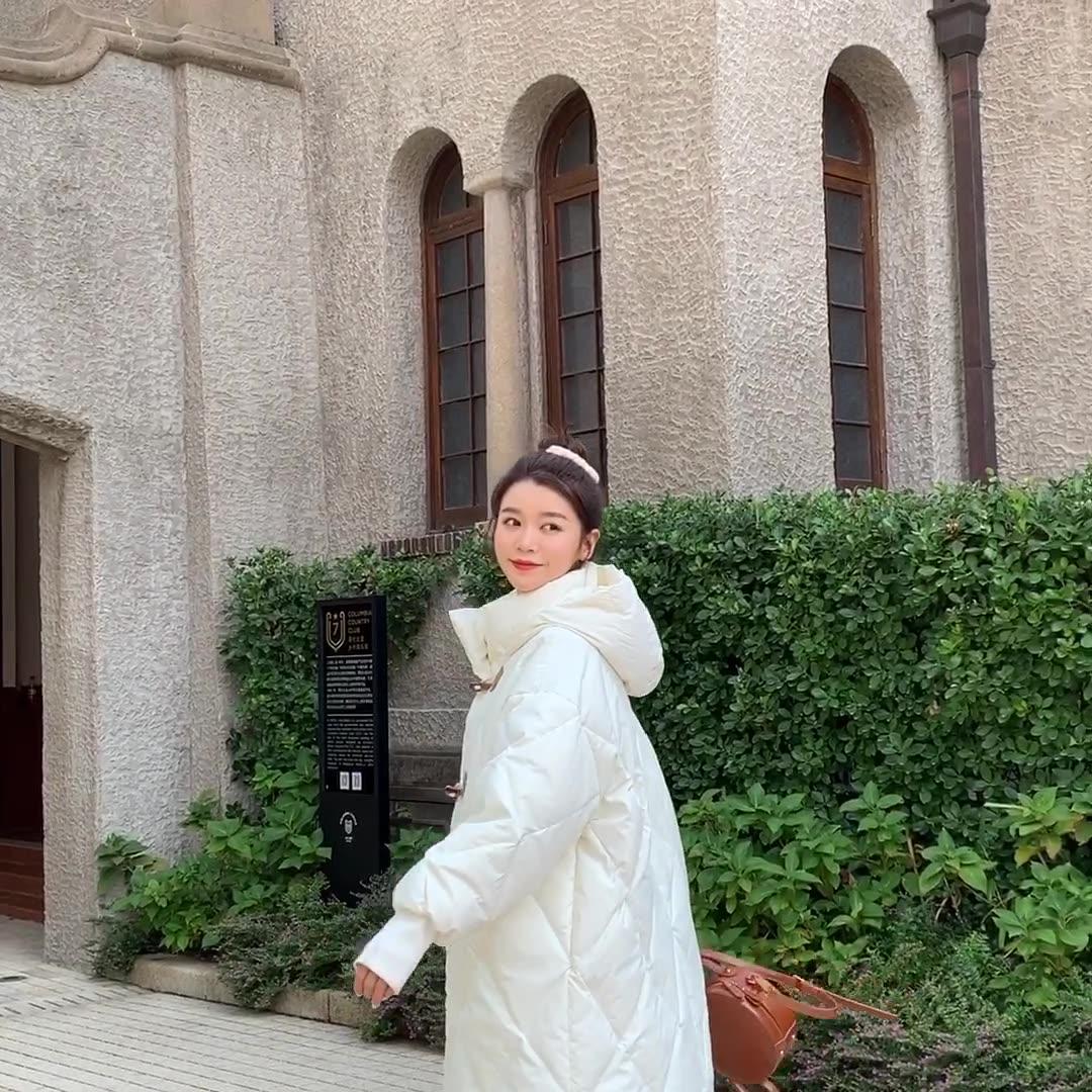 實拍林珊珊 牛角扣羽絨棉服女中長款時尚ins加厚外套冬小個子棉衣