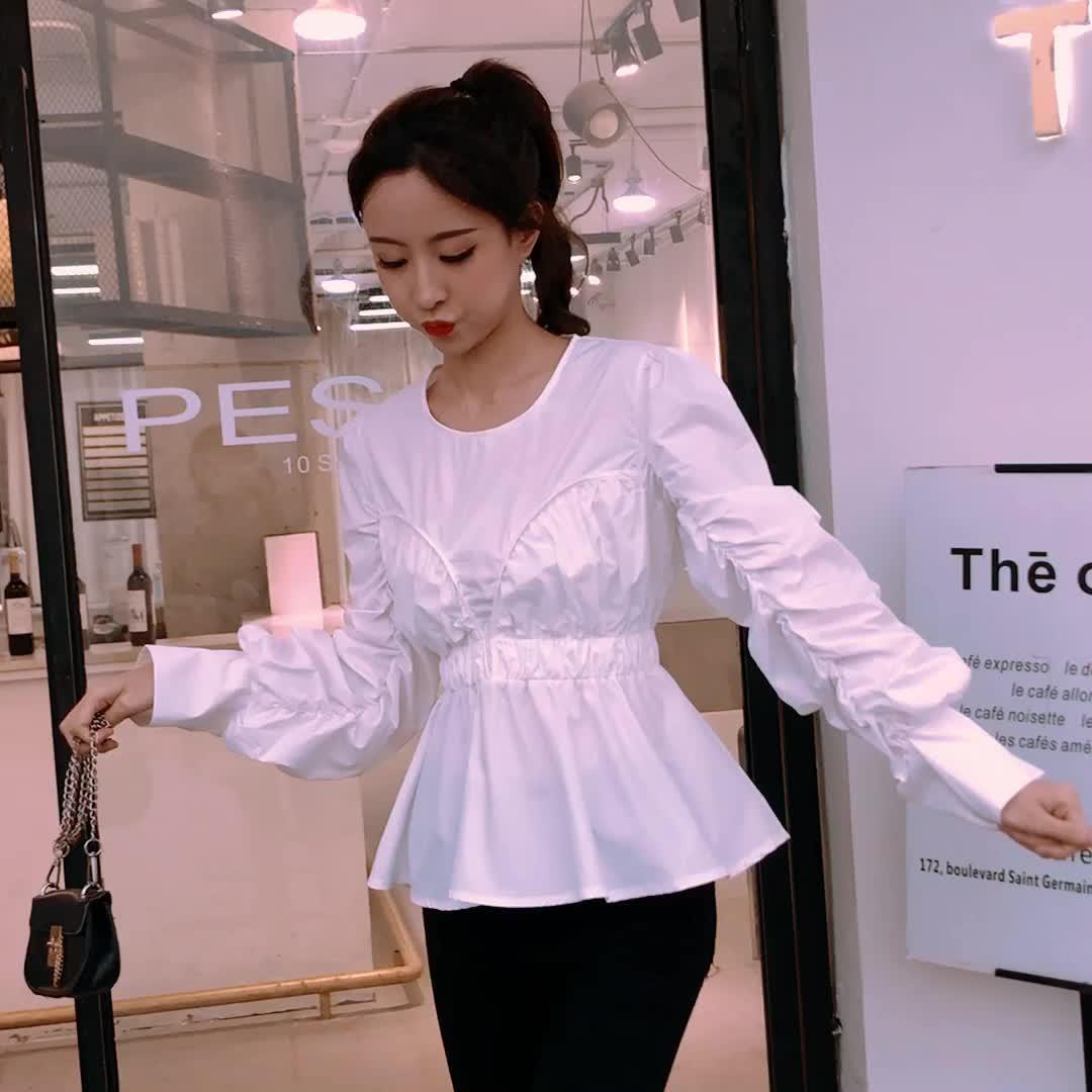 實拍 新款韓版不規則褶皺袖子收腰襯衣女圓領套頭內搭打底衫潮
