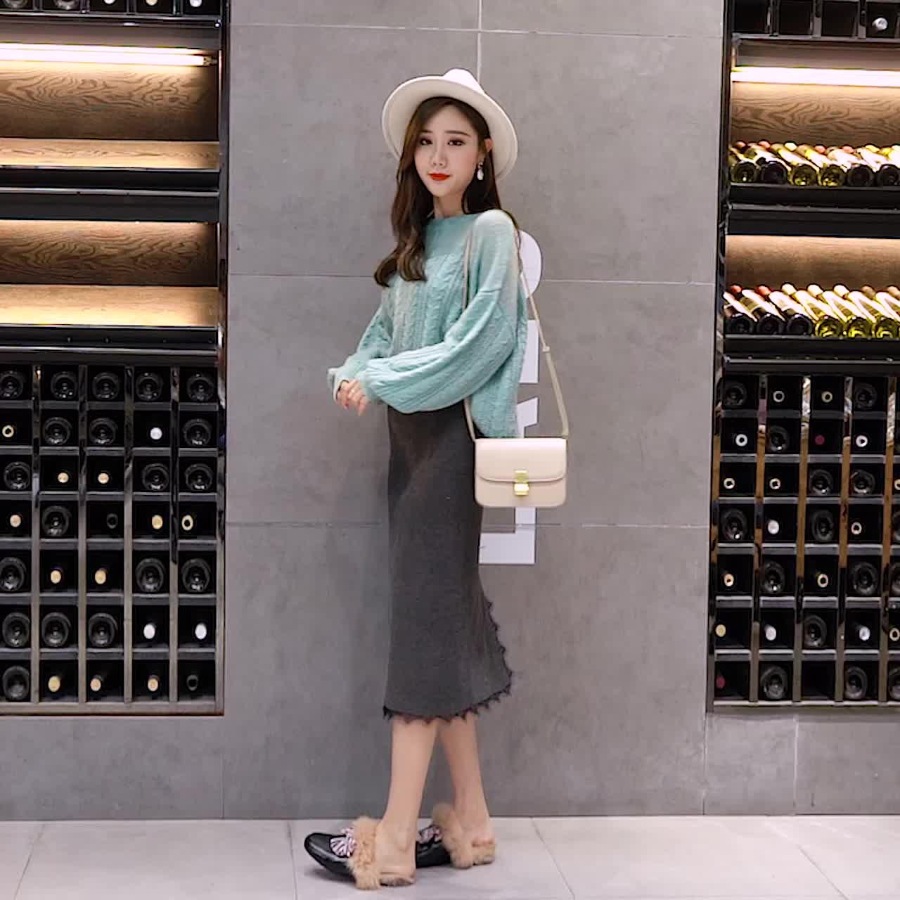 针织半身裙秋冬女2018新款中长款毛线裙子一步裙包臀裙蕾丝冬季