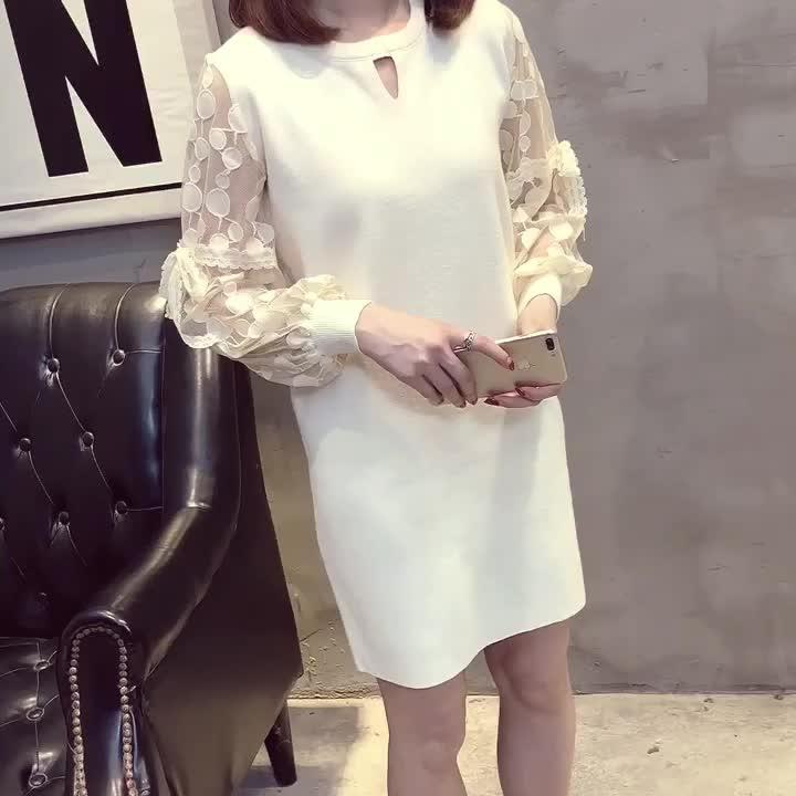 實拍2019新款韓版大碼女裝胖mm秋裝蕾絲連衣裙針織套頭毛衣打底衫