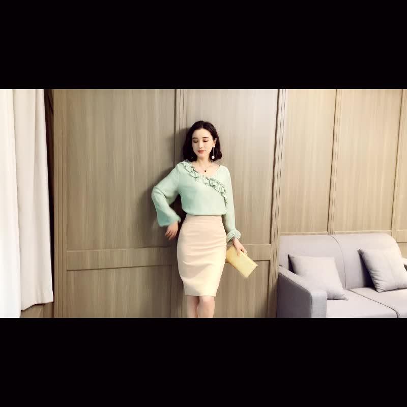 现货亚博娱乐平台入口有小视频2019新款韩版雪纺衫女