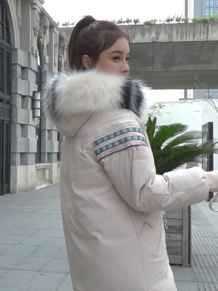 實拍冬季棉服女新款韓版中長款羽絨服學生大碼寬松棉襖大毛領棉衣