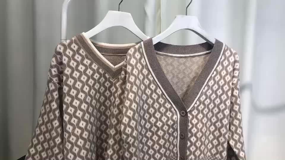 錢夫人家 雪梨定制 恬靜的秋日溫柔 舒適慵懶菱形花紋針織衫