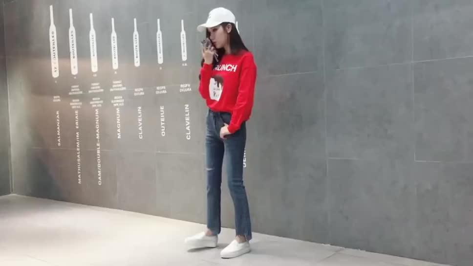 实拍+视频新款2020年破洞高弹牛仔裤女高腰不规则微喇裤九分裤