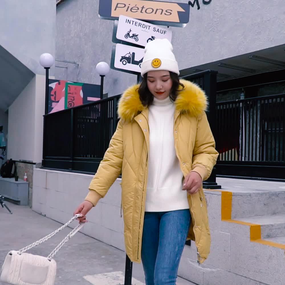實拍羽絨服女2019新款冬季韓版中長款收腰過膝棉衣外套東大門棉服